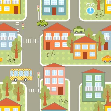 travelers: city traffic seamless pattern