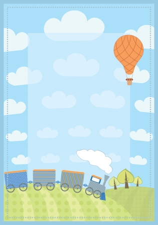 diploma border: kid s frame with train and balloon Illustration
