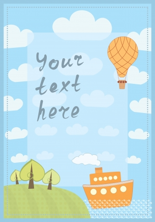 cartoon frame with a ship and hot balloon Vector
