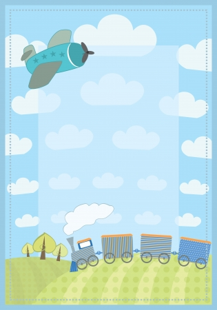 kid s frame with train and plane  Vector