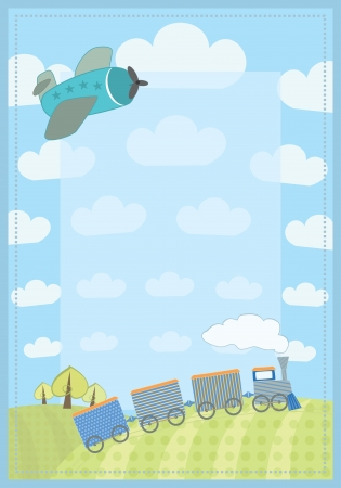 childish frame with train and planer Vector