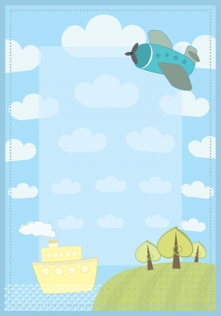 cartoon frame with a ship and a plain Illustration