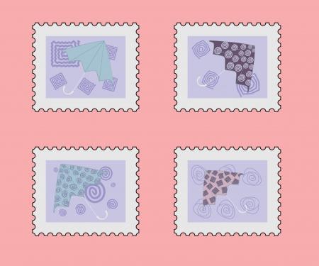 postage stamp set with umbrella Vector