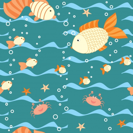 deep water seamless pattern with a fishes Vector