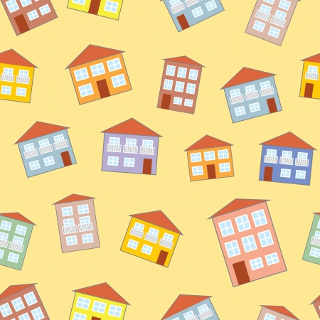 little funny house seamless pattern Vector