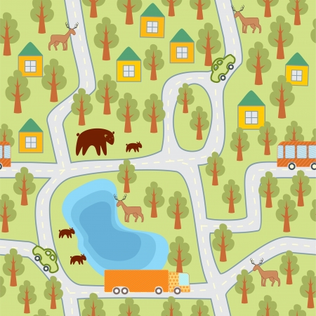 village in the forest seamless pattern Illustration