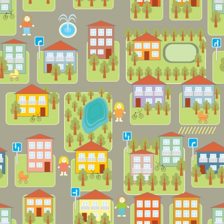 town illustration seamless pattern Vector