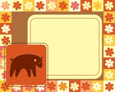 horizontal frame  with bear Vector