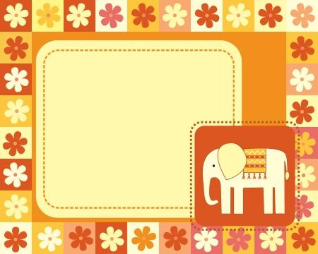 horizontal frame  with elephant Vector