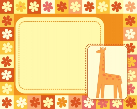 horizontal frame  with giraffe Vector