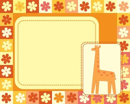 horizontal frame  with giraffe Vector