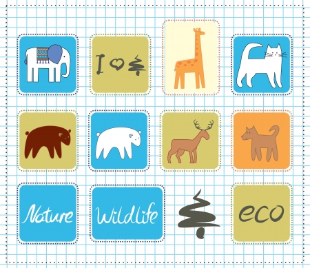 wildlife icons set Vector