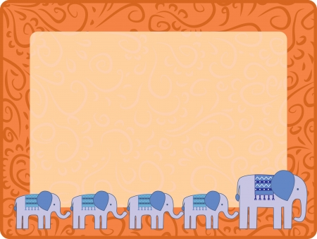 ornament frame with elefant and his kids Vector