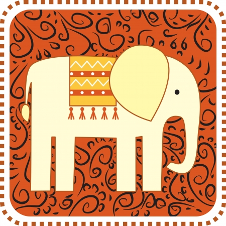 Elephant on the ornament backgroung Vector