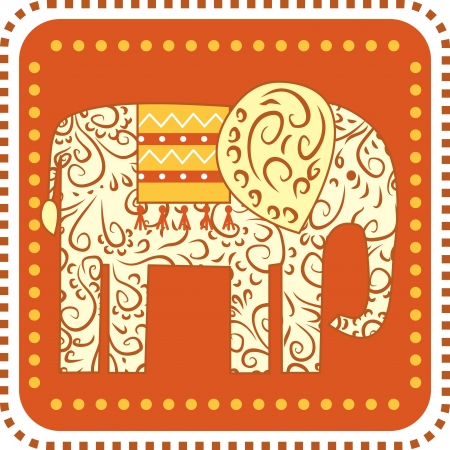 ornament Elephant on a square background Stock Vector - 14317428