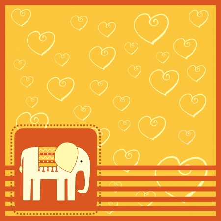 sertificate: greeting card  with elefant
