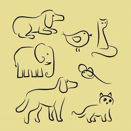 scetch: animal s silhouette by black line