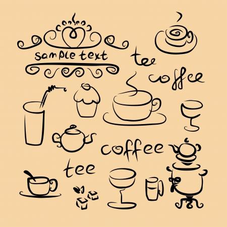 tea time silhouette set  Vector