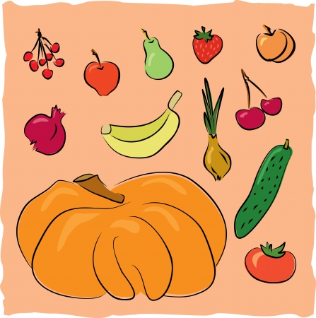 hand drawn fruits and vegetables collection Vector