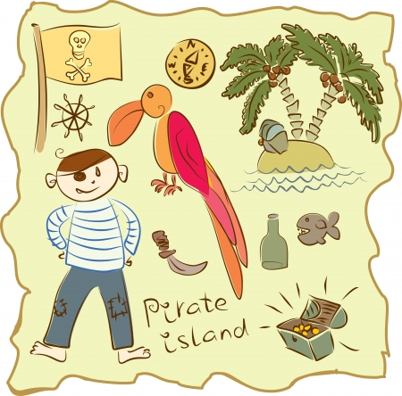 kid s Pirate Collection Vector