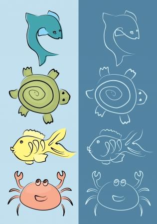 marine animals set Vector