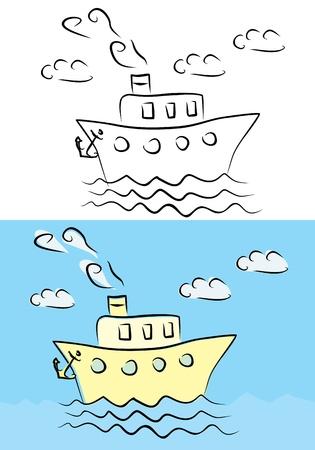 steamship: stoomschip illustratie Stock Illustratie