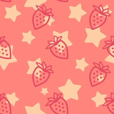 strawberry silhouette  seamless pattern Vector