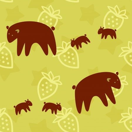 brown Bear family seamless pattern Vector