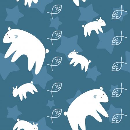 polar bears family on night sky seamless pattern