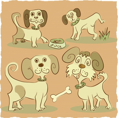 four little funny dog Vector