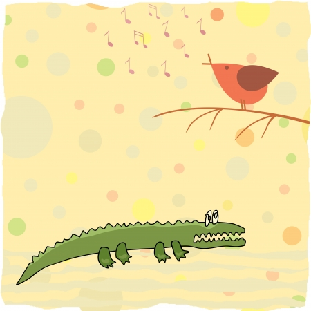 little crocodile listen a bird singing Vector