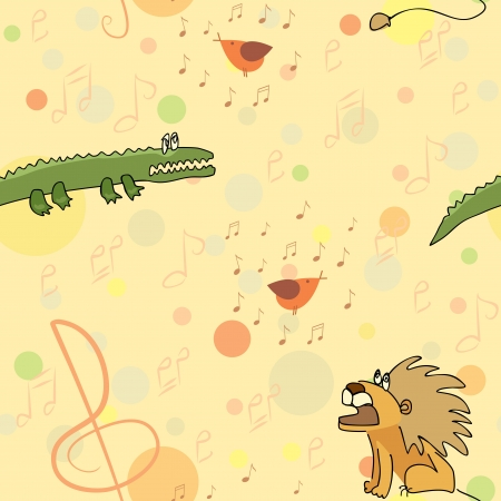 leo and crocodile listen bird s singing seamless pattern Vector