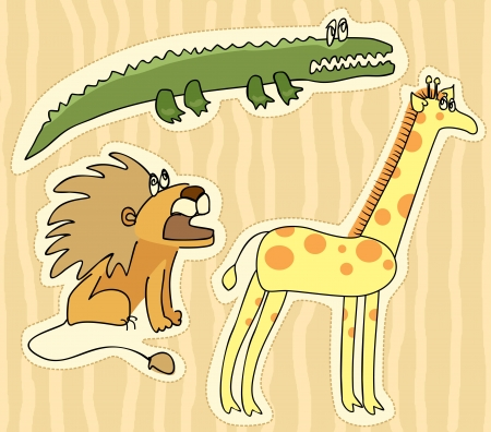 childlike stickers with lion, giraffe and crocodile Vector