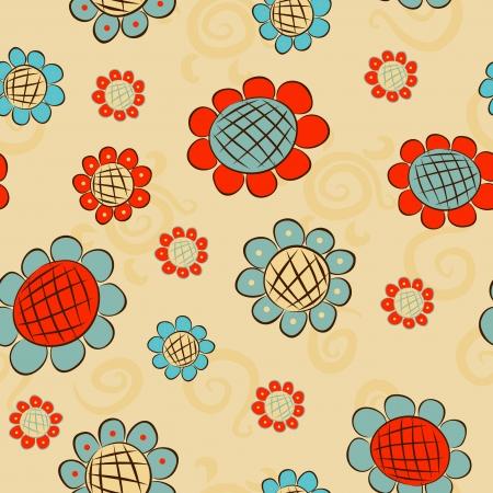 cartoon flowers seamless pattern Vector