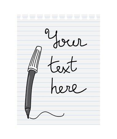 felt-tip pen a piece of notebook Illustration