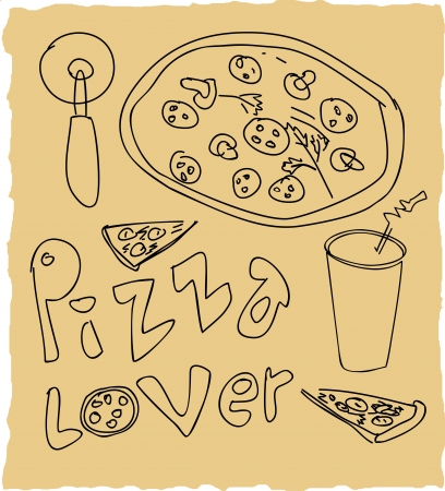 hand drawn pizza lover set Vector