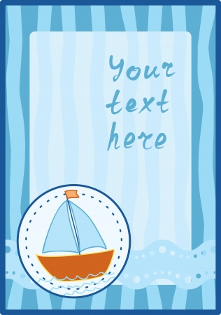 vertical frame with hand-drawn ship Vector
