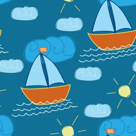 seamless pattern with hand-drawn ship Vector