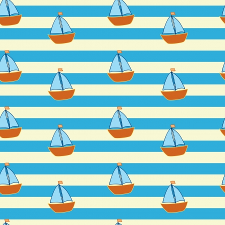 striped pattern with little ships Vector
