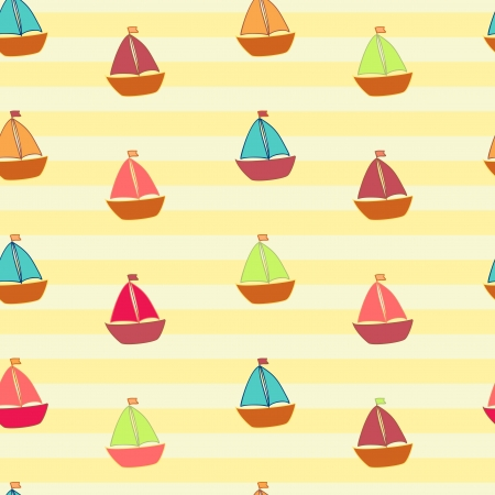little colored ships on striped background Vector