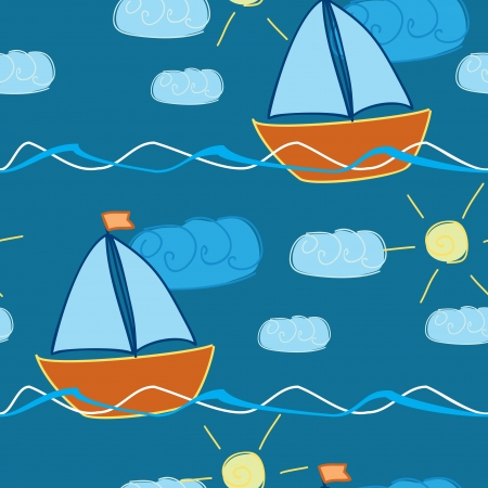 seamless pattern with hand drawn ship in waves  Vector