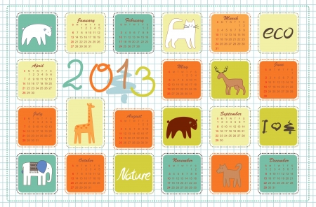 eco calendar for the year 2013 Illustration