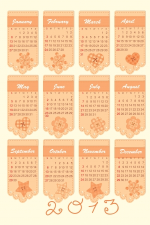romantic calendar for the year 2013 Vector