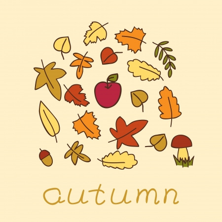 autumn background with colored leafs Vector