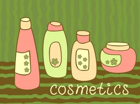 cosmetics bottle set Stock Vector - 14996321