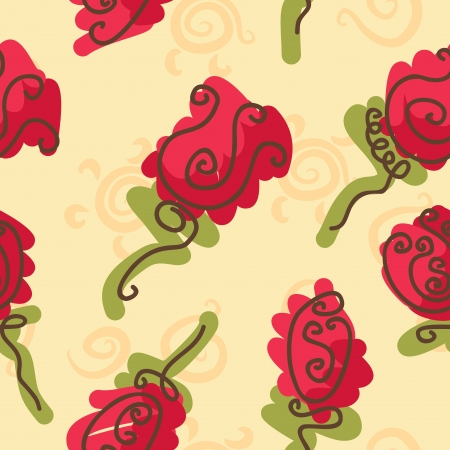 doodle bright roses seamless pattern Vector