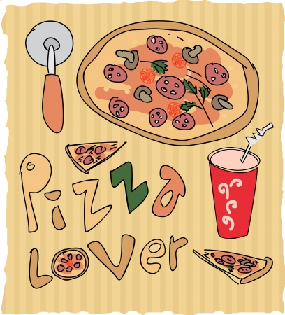 hand drawn pizza lover colored illustration Vector