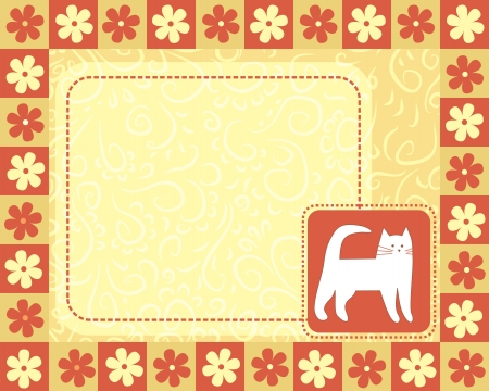 horizontal frame  with white cat Vector