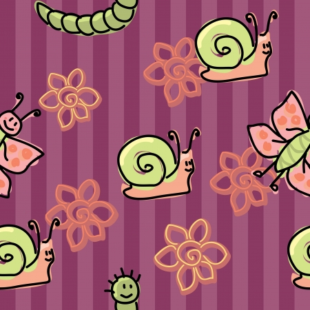 little friendly insects seamless pattern Illustration
