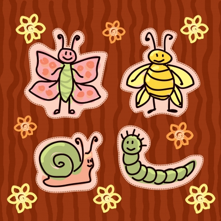 childlike insect stickers Vector